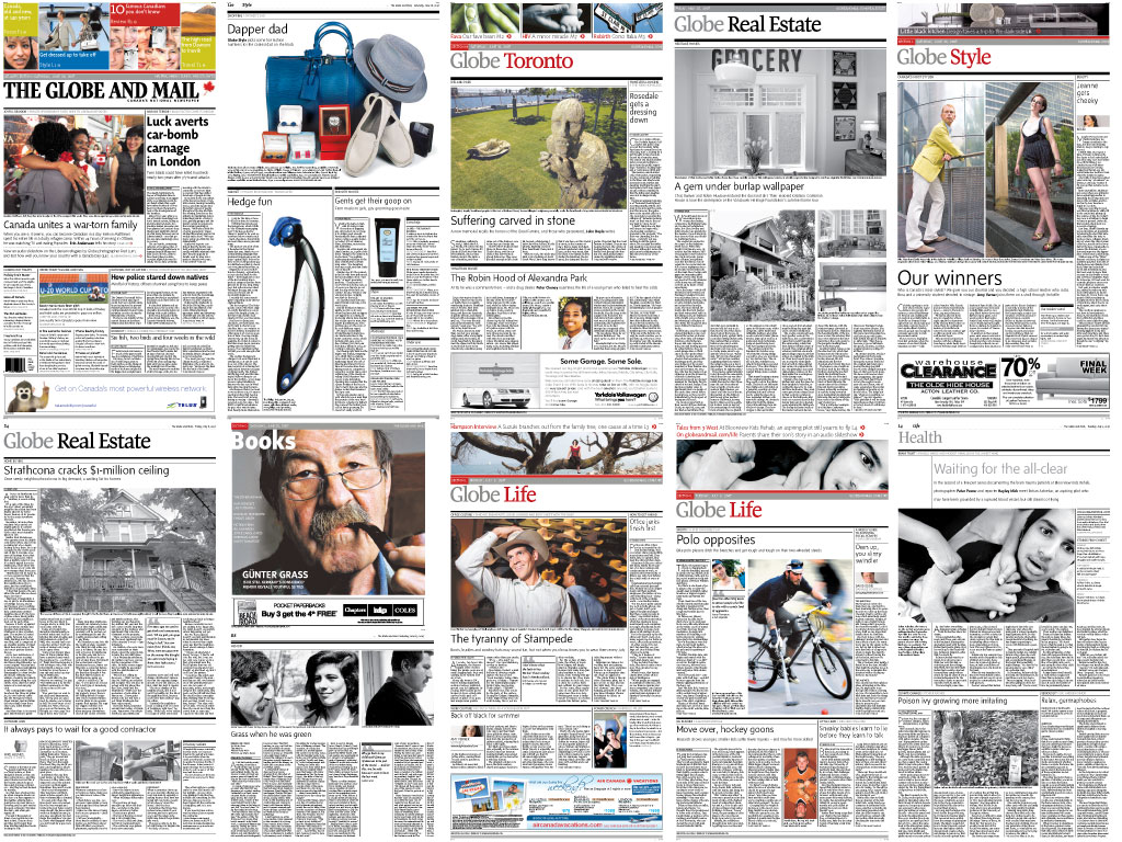 alt A few Globe & Mail pages I laid out